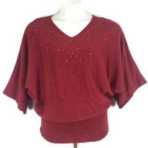 Maggie Barnes 16W Red Metallic Christmas Knit Top